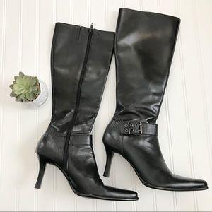 Franco Sarto Black Leather High Heeled Boots